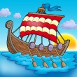 Viking boat on sea - Stock Photo