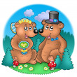Wedding image with bears on meadow - Stockfoto