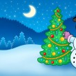 Stock Photo: Winter landscape with snowman and tree