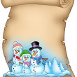 Royalty-Free Stock Photo: Winter parchment with snowman family