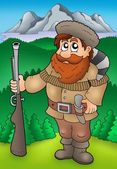 Cartoon trapper with mountains — Stock Photo