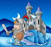 Castle and knight in winter landscape — Stock Photo