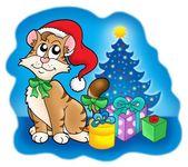 Gatto con albero di natale e regali — Foto Stock