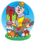 Circus clown with pets — Stock Photo