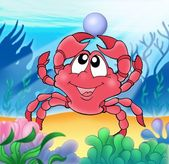 Cute crab with pearl — Stock Photo