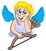 Cupid resting on cloud — Stock Photo
