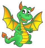 Cute green dragon — Stock Photo