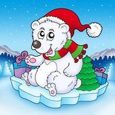可爱的圣诞熊与礼物 — 图库照片