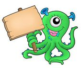 Cute monster with wooden sign — Stock Photo