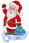 Cute Santa Claus with gifts on snow — Stock Photo