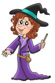 Cute witch with wand — Stock Photo