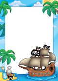 Frame with pirate ship — Stock Photo