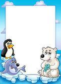 Marco con animales de invierno — Foto de Stock
