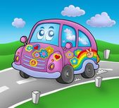Hippie car on road — Stock Photo