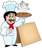 Chef holding pizza with table — Stock Photo
