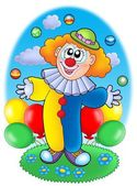 Juggling cartoon clown with balloons — Stock Photo