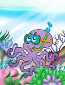 Octopus taucher unter wasser — Stockfoto