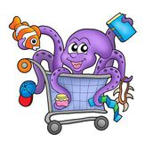 Octopus and shopping cart — Stock Photo