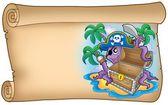 Alte schriftrolle mit piraten-oktopus — Stockfoto