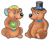 Pair of cute wedding bears — Stock Photo