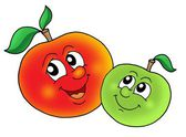 Pair of smiling apples — Stock Photo