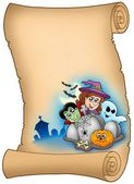Parchment with Halloween characters — Stock Photo