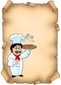 Parchment with chef holding pizza — Stock Photo