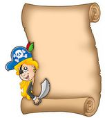 Parchment with lurking pirate girl — Stock Photo