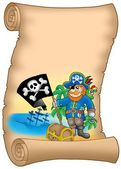 Parchment with pirate holding flag — Stock Photo