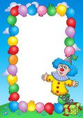Party invitation frame with clown 3 — Foto Stock