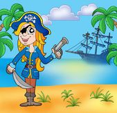 Pirate girl on beach 3 — Stock Photo