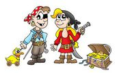 Pirate kids with duck and treasure — Stock Photo