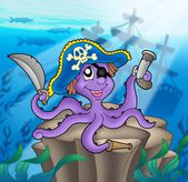 Pirate octopus with shipwreck — Stock Photo