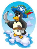 Pirate penguin on iceberg — Stock Photo