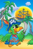 Pirate parrot with boat — Stock Photo