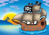 Pirate ship on sea — Stock Photo