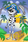 Pirate skeleton with sabre and treasure — Stock Photo