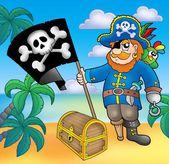 Pirate avec drapeau sur la plage — Photo
