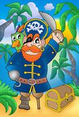 Pirate with parrot and treasure chest — Stock Photo