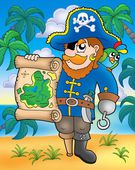 Pirate with treasure map on beach — Stock Photo