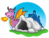 Purple dragon with cave — Stock Photo