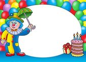 Round frame with clown and balloons — Stock Photo