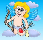 Small flying cupid with bow — Stock Photo