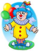 Smiling clown with balloons — Stock Photo