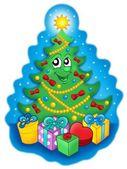 Lachende kerstboom met giften op sky — Stockfoto