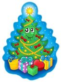 Smiling Christmas tree with gifts on sky — Stock fotografie