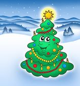 Smiling Christmas tree in snowy land — Stock Photo