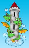 Three headed dragon on sky — Stock Photo