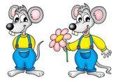 Deux souris avec fleur — Photo