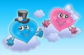 Two wedding hearts on sky — Stock Photo